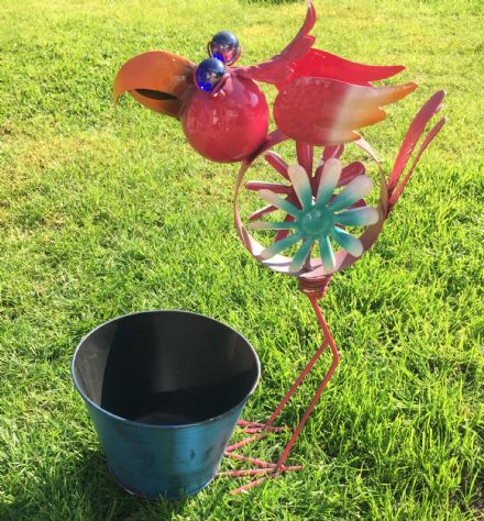 Pink Flamingo Planter Sculpture Ornament with Windmill Feature